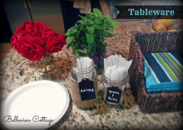 To display silverware at a party, decorate a mason jar with burlap, and use chalkboard tags! | Little Man Party | Belleview Cottage