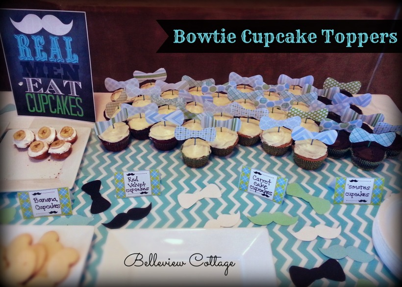 Bowtie Cupcake Toppers | Little Man Party | Belleview Cottage
