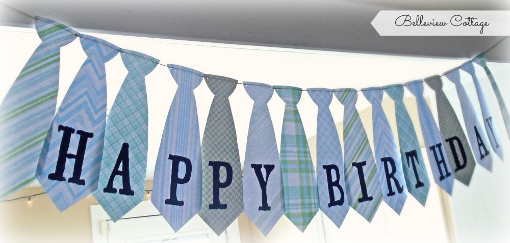 Happy Birthday Tie Banner | Little Man Party | Belleview Cottage