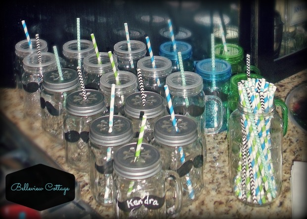 Mason Jars with Daisy Lids & Paper Straws | Little Man Party | Belleview Cottage