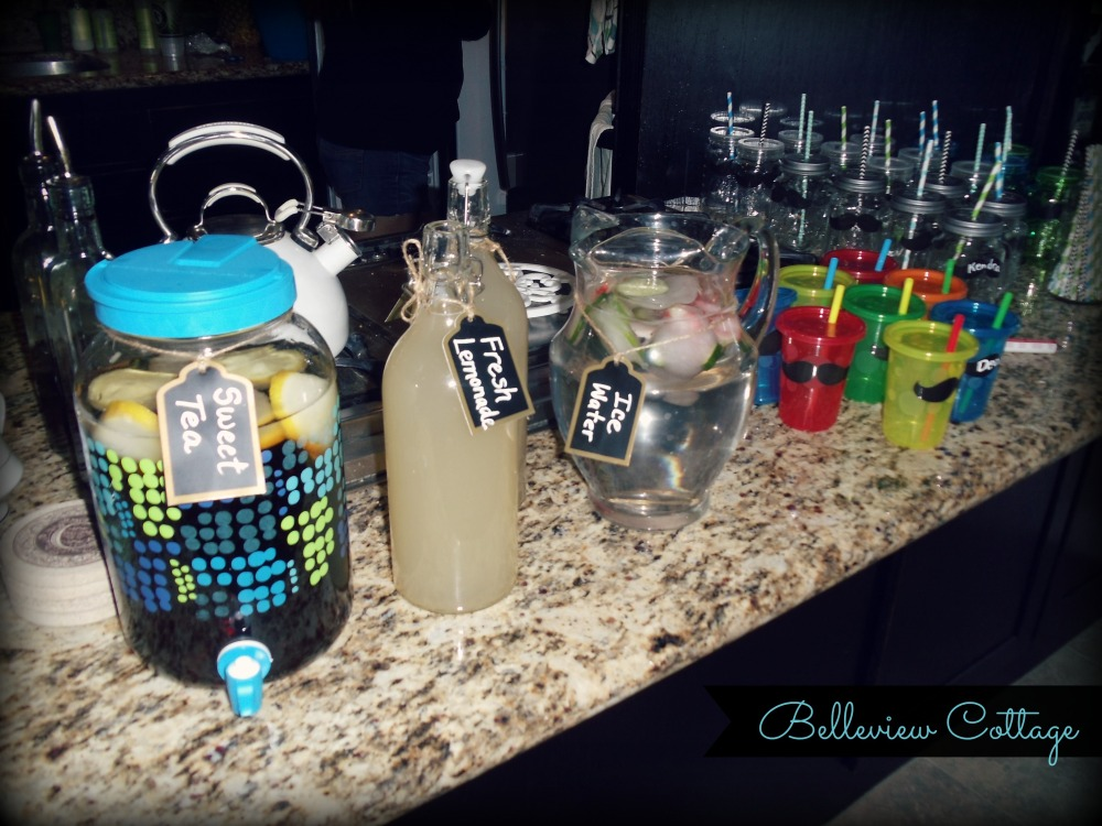 Beverage Station: Chalkboard Tags and Kiddie Cups :) | Little Man Party | Belleview Cottage