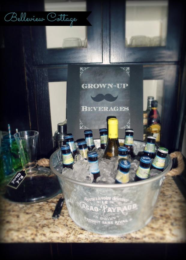 Adult Beverage Station   Little Man Party   Belleview Cottage