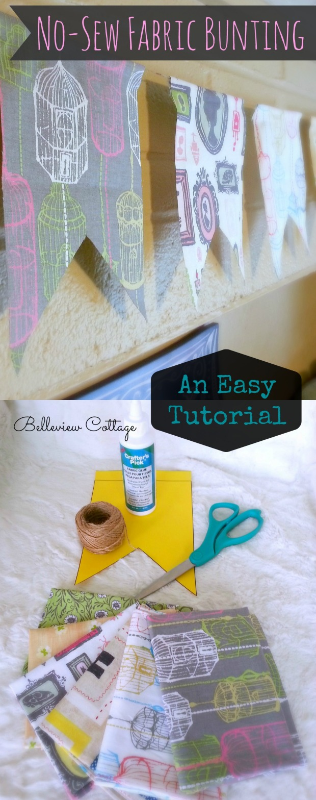 Easy No-Sew Fabric Bunting Tutorial! | Belleview Cottage