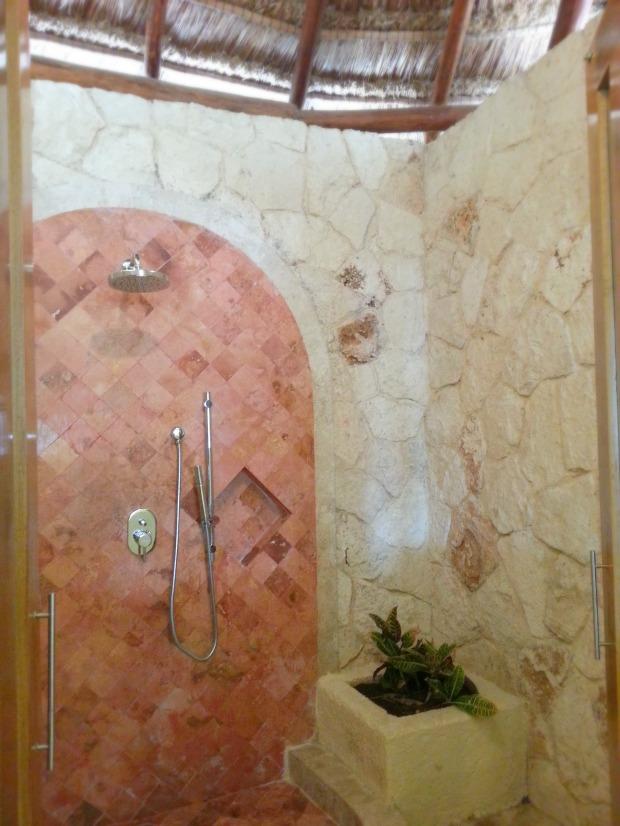 Outdoor shower in the Laguna Villa suite, Grand Riviera Princess resort, Playa Del Carmen, Mexico