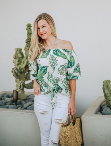 Palm Beach Blouse - off-shoulder tie-front top with palm print. From Blooming Cactus Boutique