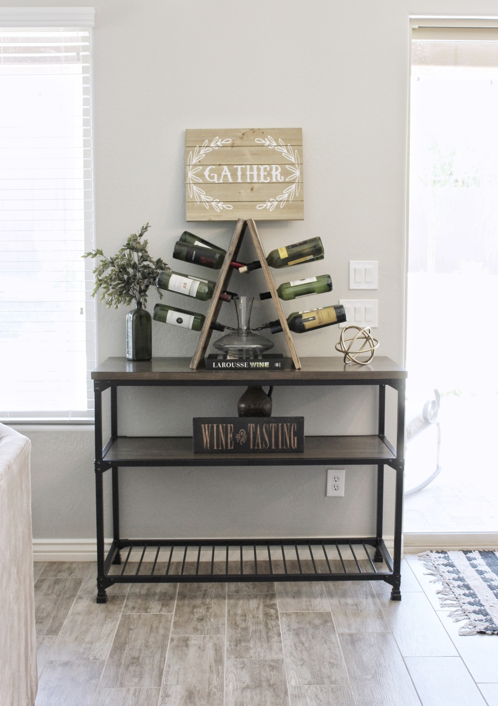 Rustic Farmhouse Decor. Rustic Wood Wine Riddling Rack.