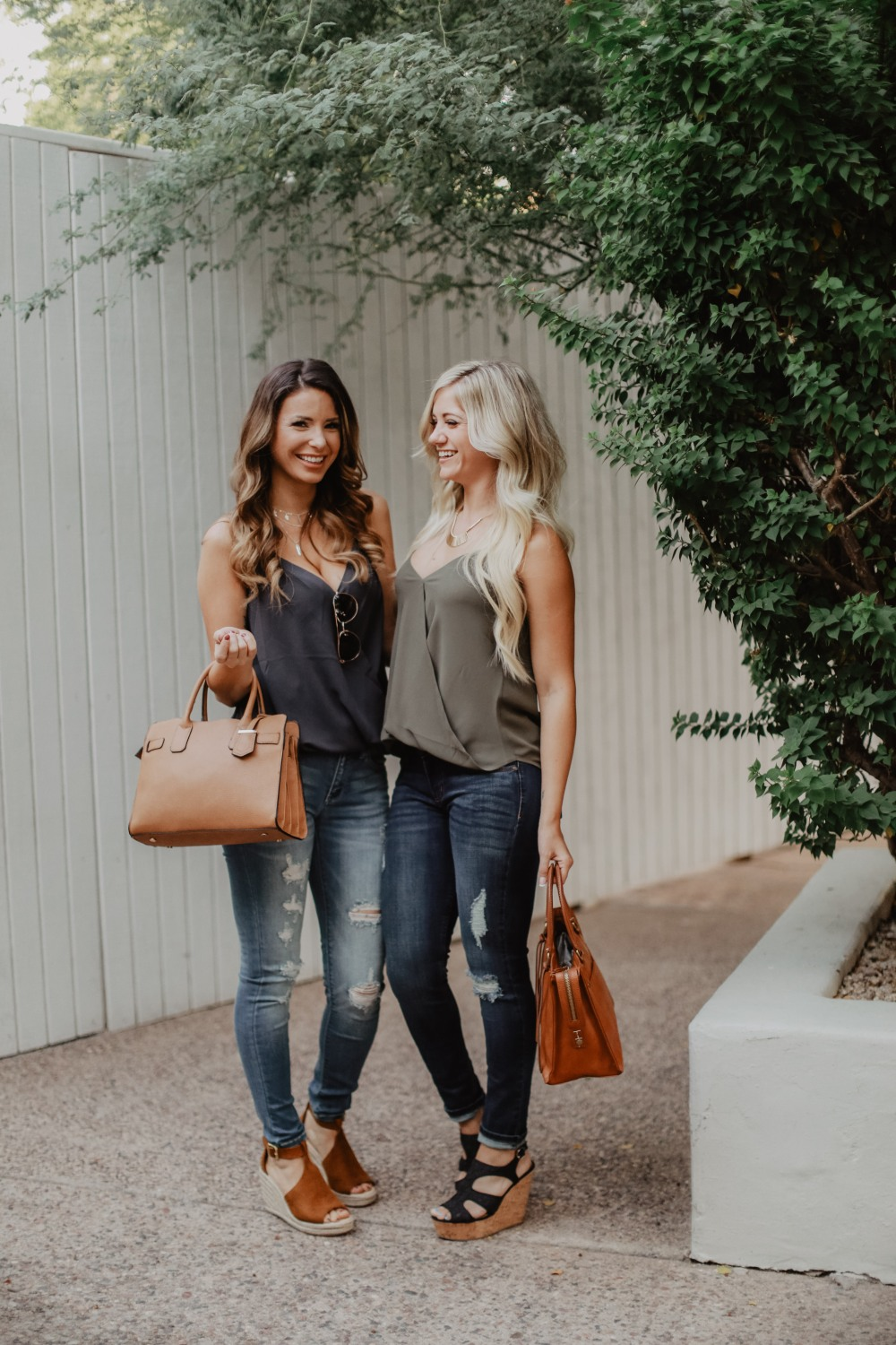 The perfect fall transitional outfits! Sleeveless tops (cuz it's still warm out) in gorgeous FALL COLORS with cute jeans and wedges! Just add a cardigan when it cools off.