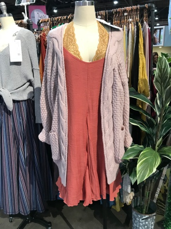 This particular color combination might not be a favorite for everyone... but the concept is perfection. Lace bralette + flowy tank dress + chunky cardigan. The combination of colors and textures creates a dynamite outfit!