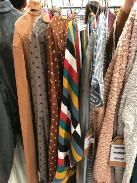 I didn't happen to snap a great pic on a person or mannequin of the bold stripe trend... so you'll have to take my word for it. But here's a sneak peek at a top coming to Blooming Cactus Boutique this fall! (Right in the middle... uhhh kinda hard to miss, right?!)