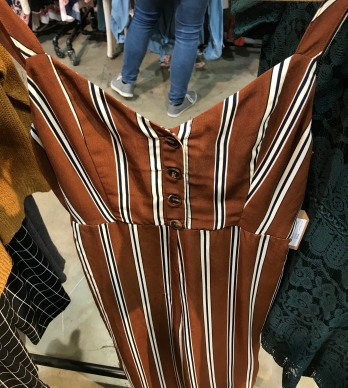 Ok, so it's a horrible picture but this was one of my favorite striped jumpsuits in the perfect fall colors! Again, you can layer with a tee for more coverage/warmth. Note the buttons... another trend to discuss below!